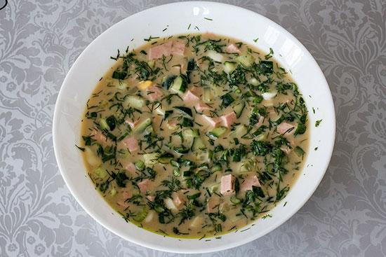 Рецепт приготовления окрошки с колбасой
