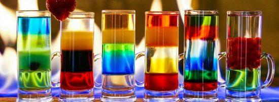 многослойные цветные коктейли