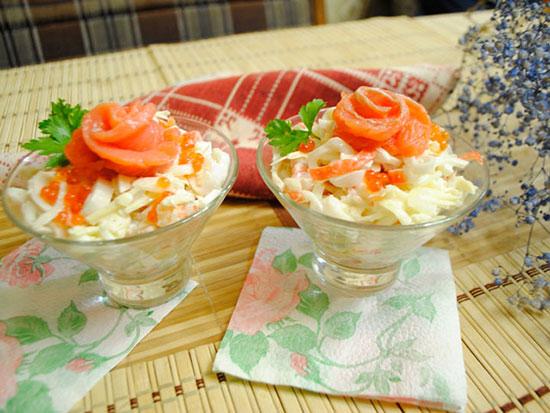 Коктейльный салат с красной рыбой