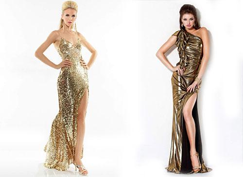 золотое платье в пол с разрезами