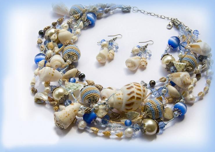 Как сделать комплект украшений «Морские камешки»
