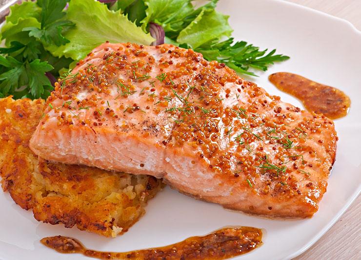 Рыбный стейк в медово-горчичном соусе